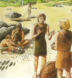 De eerste ruilhandel! jagers en verzamelaars die voedsel, huiden, dieren en andere grondstoffen verruilen. Prehistoric World, Epic Story, Stone Age, Ancient Civilizations, Anthropology, Ancient History, Medieval, Beast, School