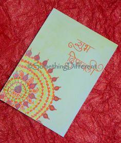 Diwali Greeting card Diwali Cards, Diwali Greeting Cards, Diwali Greetings, Greeting Cards Handmade, Diwali Diva, Diwali Festival, Art N Craft, Happy Diwali, Divas