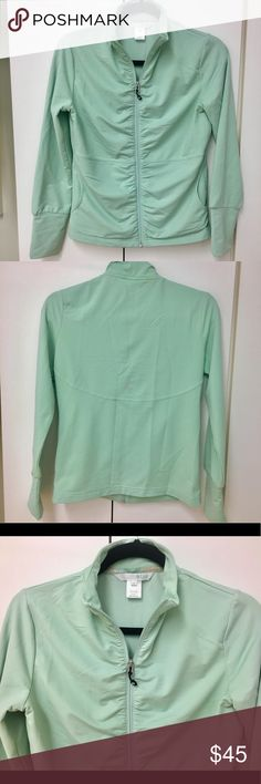 Gorgeous Lija mint green jacket 🧥 💚 Gorgeous Lija mint green jacket 🧥 💚. Shirring along zipper looks beautiful!  Tiny bit of piling near inside label...seen in photo.  Excellent used condition!  I have matching capris in my closet, and offer a 20% bundle discount! Lija Jackets & Coats