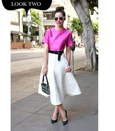 Details: H&M Circle Skirt ($70, 855.466.7467); PAPER London Trentino Top ($300) in Hot Pink; Illesteva Leonard Sunglasses ($165) in Light Purple; B-Low the Belt Hampton Belt ($92, 805.563.2425) in Black; Steven Dann Black Green Suede Pumps ($695, 516.466.2071); Reiss Filippa Box Clutch ($240) in Navy Embellished; Michael Spirito Gold Plated Diamond Stud Delicate Cuff ($149); Lia Sophia Flowerette Ring ($78); Gabriela Artigas Yellow Pedastal Ring ($240).