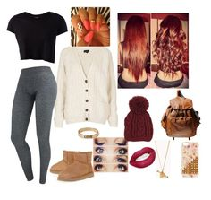 """""""im so borde -.-"""" by mejust2minnie ❤ liked on Polyvore featuring Topshop, Pieces, UGG Australia, West Coast Wardrobe, Forever 21, women's clothing, women, female, woman and misses"""