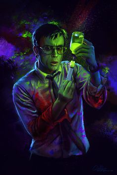 """DeviantArt: Reagent by qzkills. Lovecraft tale """"Herbert West: Re-animator"""". This Herbert West looks very much like the one from the 1985 movie, played by Jeffrey Combs. Horror Icons, Sci Fi Horror, Horror Movie Posters, Arte Horror, Movie Poster Art, Creepy, Re Animator, Arte Sci Fi, Horror Artwork"""