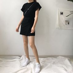 Buy monroll Tie-Sash T-Shirt Dress Korean Fashion Minimal, Korean Fashion Trends, Korean Street Fashion, Minimal Dress, Minimal Outfit, Seoul Fashion, Streetwear Mode, Streetwear Fashion, Dress Outfits