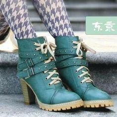 #Smoothie Buckled Lace-Up Short Boots