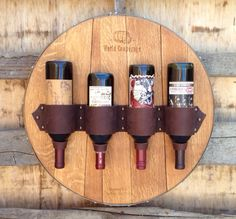 Brown Top Grain Leather 4 Wine Bottle Holder // by YesterdaysWine, $165.00
