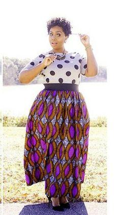 4594fdd0374 plus size polka dot top   maxi skirt retro tribal style