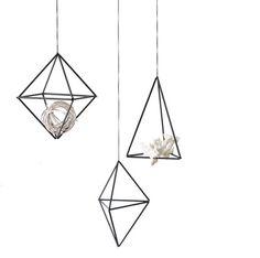 Set of 3    Himmeli Ornaments   Air Plant Hanger   Geometric Hanging Mobile   Minimalist Home Decor