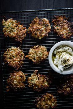 Zucchini Latkes with Za'atar Sour Cream / the kosher spoon