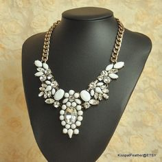 Jcrew Crystal Necklace,Popular Gemstone Collar Necklace in White,Fashion Women Jewelry,Birthday Anniversary Gift for her,mom  $23.95