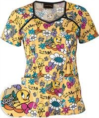 Cherokee Tooniforms All About Tweety Scrub Top