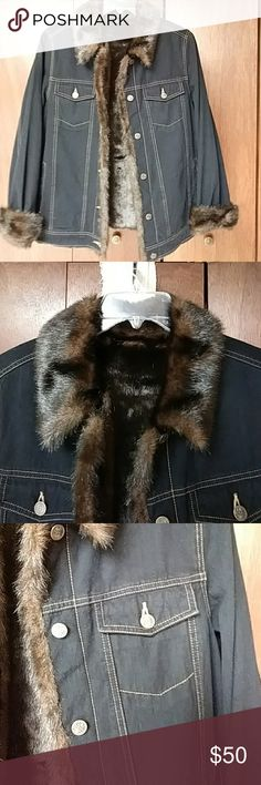 Dennis Basso Denim Jean Jacket with Faux Fur Trim Dennis Basso Indigo Blue Denim Jean Jacket with Faux Fur Trim and lining.   Rich looking brown faux fur trim down the front of the jacket and on the cuffs and collar.   Hooks and buttons on removable lining which can be used as a vest. Dust cover included.  Size Medium.  Generous fit. Dennis Basso Jackets & Coats Jean Jackets
