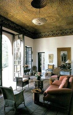 "Dar es Saada, Arabic for ""The House of Happiness"" Yves Saint Laurent and Pierre Bergé's first Moroccan retreat in the late 1970′s. Interiors by Bill Willis."