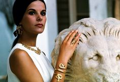 "beautifulgreece: "" Greek actress Elena Nathanail, captured by Jack Garofalo in 1966 wearing ancient jewelry from the Archaeology museum in Athens. Paris Match."