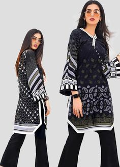 Buy Gul Ahmed Black & White Unstitched 2019 Collection Printed Cotton Unstitched Kurties from Sanaulla Store - Original Products. Pakistani Fashion Casual, Pakistani Dresses Casual, Pakistani Dress Design, Casual Dresses, Kids Blouse Designs, Kurti Neck Designs, Kurta Designs Women, Stylish Dresses For Girls, Stylish Dress Designs