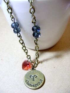 Aries Double Sided Pendant with Birthstone Vintage Necklace by NightLightCrafts, $25.00