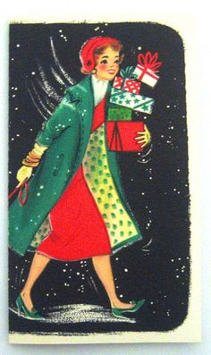 Vintage christmas card woman shopping presents. Vintage Christmas Images, Retro Christmas, Vintage Holiday, Christmas Pictures, Christmas Girls, Vintage Greeting Cards, Christmas Greeting Cards, Christmas Greetings, Vintage Postcards