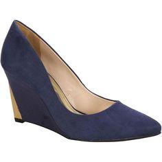 #Scarpin Via Marte Azul Anabela Marinho e Dourado #Golden #Shoes