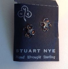 Stuart Nye Hand Wrought Sterling Silver Dogwood Petite Earrings Screw On w/ Card #StuartNye #Screw
