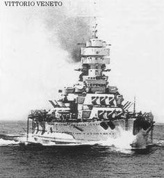 Italian battleship, Vittorio Veneto - sister to Littorio and flagship at the Matapan defeat in 1941.