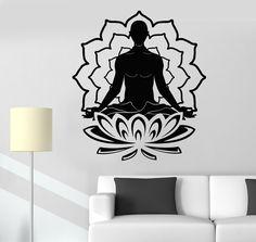 Vinyl Wall Stickers Meditation Lotus Yoga Buddhism Decal Mural (240ig)