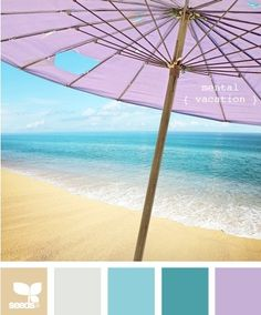 Beach Color swatches // mix shades of purple with the blues and beiges of the beach.