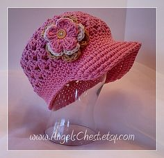 Ravelry: Beanie with Brim hat with detachable flowers SIZES 5T to ADULT No. 9 pattern by Mary Angel Morris