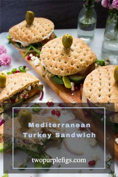 Left over Turkey never tasted SO GOOD!! Mediterranean loaded Turkey Sandwich- YUM! #Turkey #leftover #thanksgiving #food #recipes #Mediterranean #Sandwich Healthy Thanksgiving Recipes, Thanksgiving Food, Lamb Burgers, Lamb Meatballs, Good Food, Yummy Food, American Recipes, Turkey Sandwiches, Figs