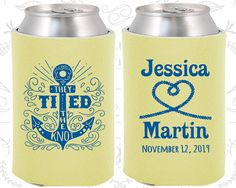 They Tied the Knot, Wedding Reception, Anchor Wedding, Nautical Wedding, Anchor Favors, Heart, Personalized Koozies (293)