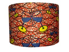 Clinking Glasses Orange Lampshade in African print fabric. 30cms Medium Drum.   Perfect for an African themed party or wedding decor. Custom / bespoke orders are welcome