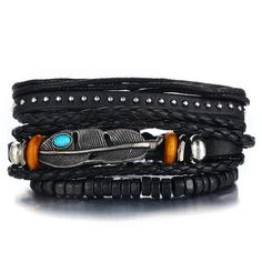 IF ME Multilayer Leather Bracelets Set Men Women Vintage Feather Rope Weave Beads Braided Bracelet Jewelry Metal Color Braided Bracelets, Metal Bracelets, Bracelets For Men, Handmade Bracelets, Bangle Bracelets, Leather Chain, Leather Men, Braided Leather, Real Leather