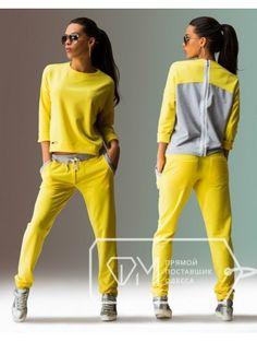 Яркий трикотажный костюм - брюки и свитшот