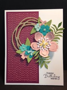 There's LOTS of stuff going on with this card. I started out with a scrap piece of Blossoms & Bliss decorative paper. Then I added the C...