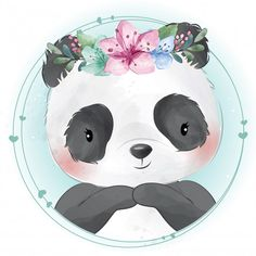 Pequeño panda lindo con retrato floral V. Cute Images, Cute Photos, Cute Pictures, Animal Pictures, Baby Animal Drawings, Cute Drawings, Panda Lindo, Baby Animals, Cute Animals