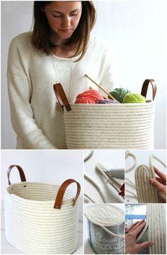 12. Make a No-Sew Rope Coil Basket