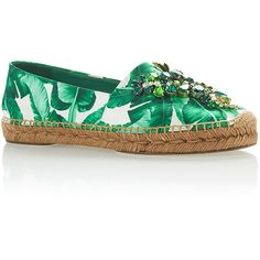 Dolce & Gabbana     Palm Leaf Embellished Espadrilles (1.430 BRL) ❤ liked on Polyvore featuring shoes, sandals, green, espadrille sandals, embellished shoes, dolce gabbana espadrilles, embellished sandals and green shoes
