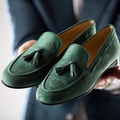 Green tassel slippers | Made with soft suede and calf leather lining