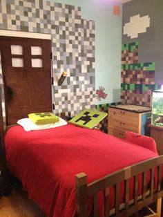 Minecraft bedroom carpet minecraft room door headboard, wall paint in gray, grass blocks more bedroom ideas Room Ideas Bedroom, Boys Room Decor, Bedroom Themes, Boy Room, Kids Bedroom, Bedroom Decor, Dream Bedroom, Minecraft Room, Minecraft Stuff
