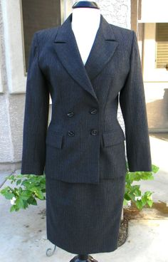 Vintage Yves Saint Laurent Woman's Suit  - Circa 1980 - Pencil Skirt, double breasted jacket