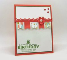 Let's Get the Stampin' Up! Sale-A-Bration Party Started with this banner card and the See Ya Later stamp set and the Banner punch.