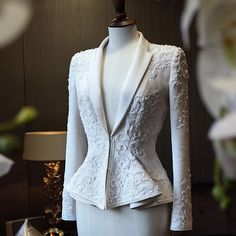 Beautiful tailored white wool gabardine #hautecouture suit with #crystal #embroidery