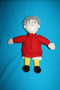 Forum Novelties plush Clown Doll Red White Gray Yarn Hair Metal Glasses Stuffed #ForumNovelties