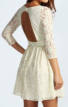 Open-Back White Lace Dress