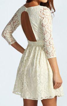 Open-Back White Lace Dress