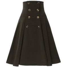 A classic Lena Hoschek style, this skirt features two rows of buttons down the front and an extrahigh, fitted waistband. With slash pockets at the hips and contrasting tortoiseshell buttons. Work Fashion, Skirt Fashion, Ribbon Skirts, Button Skirt, Work Skirts, Skirts With Pockets, Piece Of Clothing, Rock, Flare Skirt