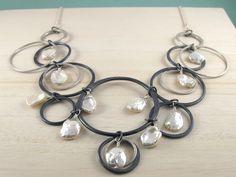 Keshi Pearls and Sterling Silver Hoops
