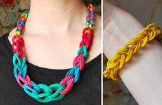 Rubber Band Chain Necklace And Bracelet (DIY Tutorial)... This Is A Really Unique Up-Cycling Project To Do With The Pre-Teens...(Or The Young At Heart), ... Click On Picture For Tutorial...