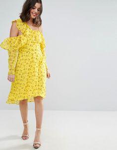 Robe jaune à volants avec imprimé fleurie