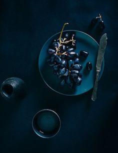 Friday-Grapes dark grape shot, Souvlaki for the Souldark grape shot, Souvlaki for the Soul Dark Food Photography, Life Photography, Creative Photography, Fashion Photography, Black Food, Blue Aesthetic, Food Design, Set Design, Shades Of Blue