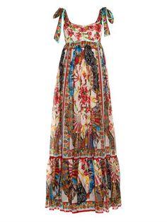 Fan-print silk-chiffon dress | Dolce & Gabbana | MATCHESFASHIO...