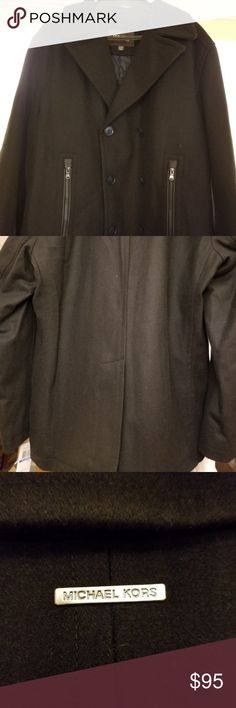 NWT Michael Kors XL Mens Wool Modern Peacoat MICHAEL Michael Kors 3269 Mens Black Double Breasted Wool Blend Pea Coat Outerwear XL - Coat has QUILTED lining.  Storm flap in back. Very warm, high end look. BRAND NEW WITH TAGS ATTACHED. Original price - $200 MICHAEL Michael Kors Jackets & Coats Pea Coats